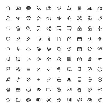 user interface symbols, thin line 100 icons set