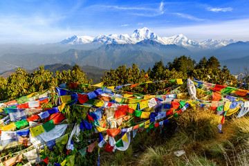 Prayer flag at Poon hill in Nepal
