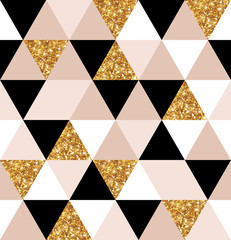 Geometry gold, black and white triangles texture.