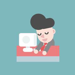 Businessman sleeping on the desk. Business concept cartoon illustration.