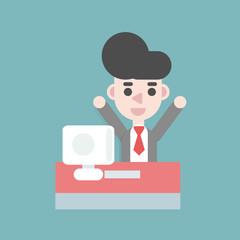 Businessman Hold up on the desk. Business concept cartoon illustration.