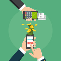 Hand holding a phone. Smartphone wireless money transfer to pos terminal.  Vector