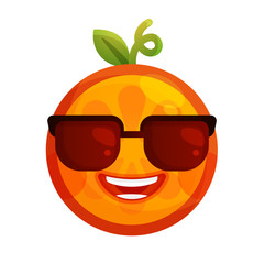 Cool emoji with sunglasses. Cool winking orange fruit emoji. Vector flat design emoticon icon isolated on white background.