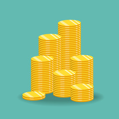 The concept of income or profit. Vector illustration. Stack of gold coins.