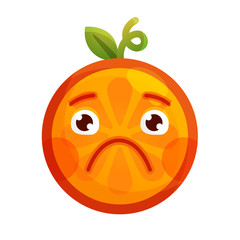Sad emoji. Sad despondent orange fruit emoji feeling like crying. Vector flat design emoticon icon isolated on white background.
