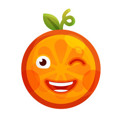 Wink emoji. Winking smiley orange fruit emoji. Vector flat design emoticon icon isolated on white background.