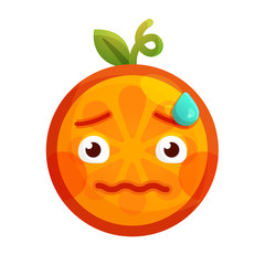 Worry emoji. Worrying orange fruit emoji with drop of sweat. Vector flat design emoticon icon isolated on white background.