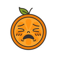 Crying emoji. Crying orange fruit emoji. Vector flat design emoticon icon isolated on white background.