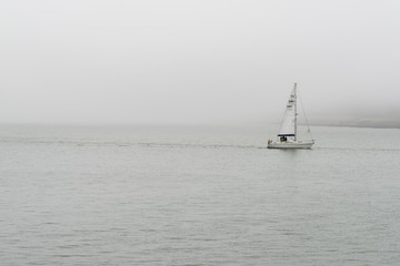 Yacht in morning bay of Portsmouth