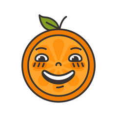 Laugh emoji. Laughing orange fruit emoji. Vector flat design emoticon icon isolated on white background.