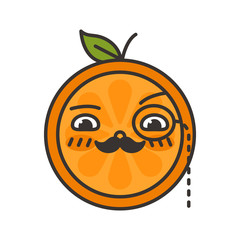 Gentleman smile emoji. Smiley orange fruit emoji with mustache and monocle. Vector flat design emoticon icon isolated on white background.