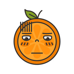 No words straight face emoji. No words feeling orange fruit emoji. Vector flat design emoticon icon isolated on white background.