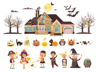 Vector illustration isolated children Trick-or-Treat boy, girl, costumes fancy dresses holiday party Happy Halloween, horror house decorated pumpkins, skeletons, bats flat style white background