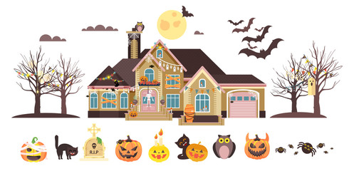 Vector illustration isolated cartoon house decorated pumpkins, skeletons celebrate holiday party Happy Halloween, brochure, flyer, leaflet or card for Trick-or-Treat flat style white background