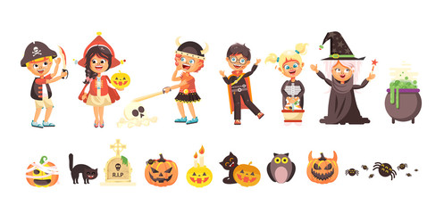 Vector illustration isolated cartoon children Trick-or-Treat boy, girl, costumes fancy dresses holiday party Happy Halloween, pumpkins, bats flat style white background brochure, flyer, leaflet