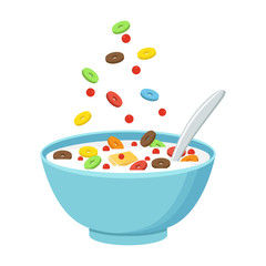Cereal bowl with milk, smoothie isolated on white background. Concept of healthy and wholesome breakfast. Vector illustration