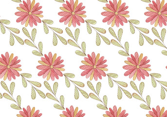 Floral flowers pattern hand drawn scketched background