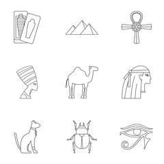 Egyptian pyramids icons set, outline style
