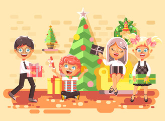 Vector illustration cartoon characters children, boys and girls in room under Christmas tree, happy New Year and Christmas, give gifts, rejoice and celebrate flat style element for motion design