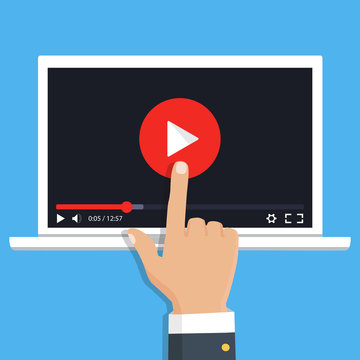 Streaming video. Vector. Online video concept. Internet video illustration. Online learning concept.