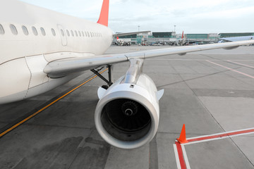 Jet engine of aircraft at aerodrome