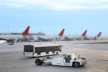 Airport with many airplanes