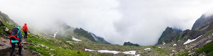 Hikers going to Negoiu peak on Fagaras Mountain