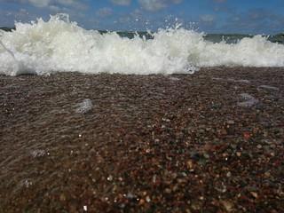 White waves in coastline of the Baltic sea