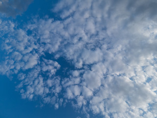 fluffy clouds and blue sky, wide angle view