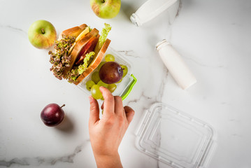 Back to school. Person making healthy lunch box with fresh fruit (apples, plums, grapes), yogurt, sandwich - lettuce, tomatoes, cheese, meat. White marble table. Copy space top view female hands