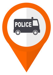 Police orange pointer vector icon in eps 10 isolated on white background.