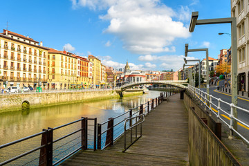 Bilbao old town view from riverbank, Spain