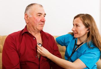 Elderly man on cardiology examination