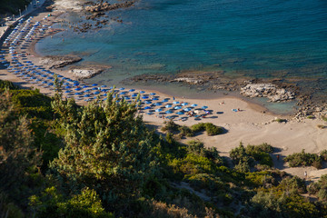 Famous nudist beach in Faliraki. Top view of the beach in Rhodes. Popular beach on the island.