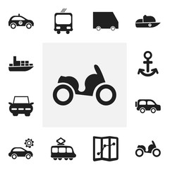 Set Of 12 Editable Shipment Icons. Includes Symbols Such As Sheriff, City Drive, Streetcar And More. Can Be Used For Web, Mobile, UI And Infographic Design.