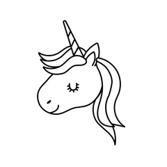 line cute unicorn head with horn and hairstyle