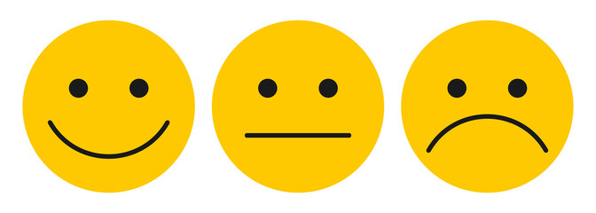 Three yellow smilies - stock vector
