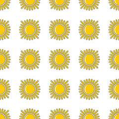 Yellow sun seamless pattern in cartoon style isolated on white background vector illustration for web