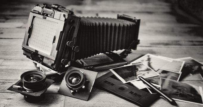 Large format camera, lens, films and tablet