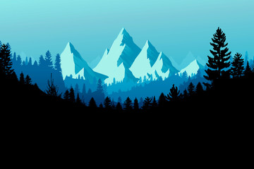 Forest Mountain Range Background