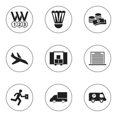 Set Of 9 Editable Mixed Icons. Includes Symbols Such As Plane, Police Vehicle, Coins And More. Can Be Used For Web, Mobile, UI And Infographic Design.