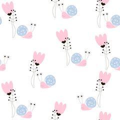 Cute little snail with fantasy flowers. Seamless pattern. Vector hand drawn illustration.
