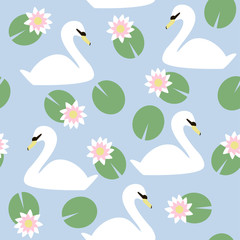 White swan among the water lilies seamless pattern. Vector hand drawn illustration.