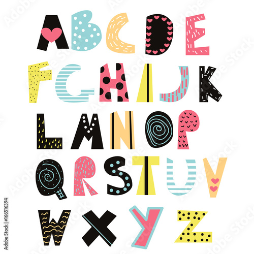 Funny kids font cute alphabet for education or decor vector hand cute alphabet for education or decor vector hand drawn illustration altavistaventures Image collections
