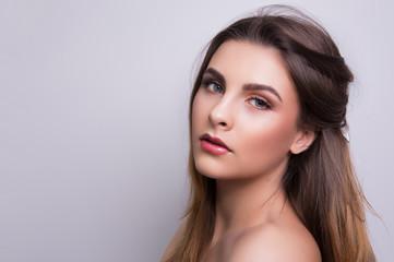 Fashionable portrait of a girl model. Fashion, glamour makeup.