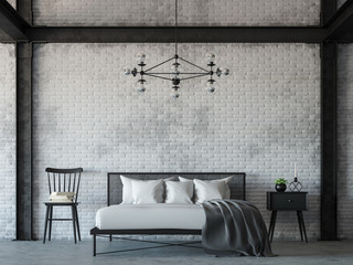 Loft style bedroom 3d rendering image.There are white brick wall,polished concrete floor and black steel structure.Decorate with hanging lamp.Furnished with black and white furniture.