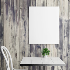 White poster above coffee table, wooden background, 3d illustration