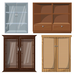 Vector illustration of furniture. Set of cabinets. Can be used for your interior projects.