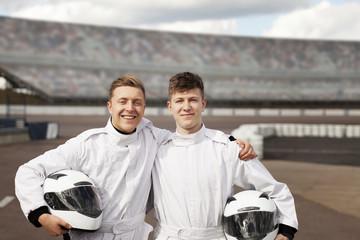 Racing team mates on track