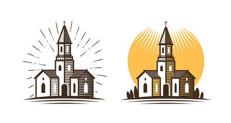 Church logo. Religion, faith, belief icon or symbol. Vector illustration